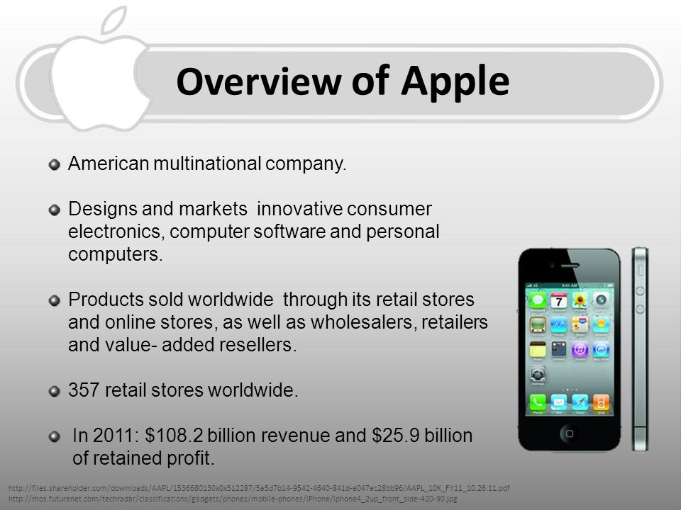 apple inc company overview Describing apple inc as the 'little company that could,' o'grady (who has written  for  inc, it is nothing more than a superficial hardware and software overview.