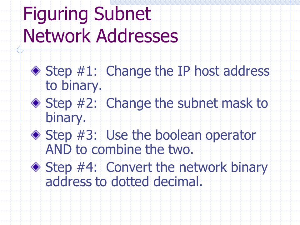 how to find network address from ip and subnet