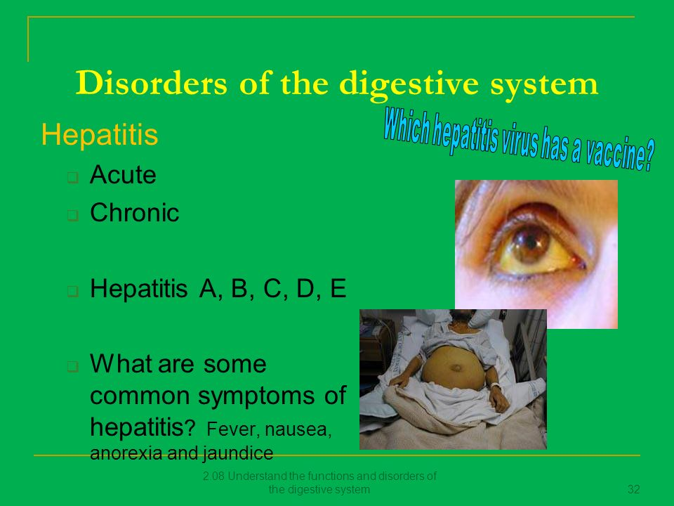 "disorders of the digestive system Home » online medical terminology course » digestive system » digestive system diseases gastroesophageal reflux disease (gerd) – severe ""heartburn"" in laymen's language weakness of the valve between the esophagus and stomach may allow stomach acid to reflux (regurgitate, backup) into the esophagus and irritate and inflame the lining."