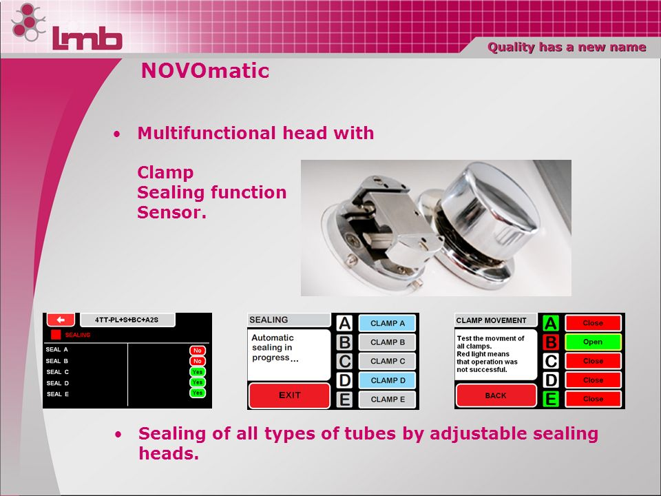 NOVOmatic Multifunctional head with Clamp Sealing function Sensor.