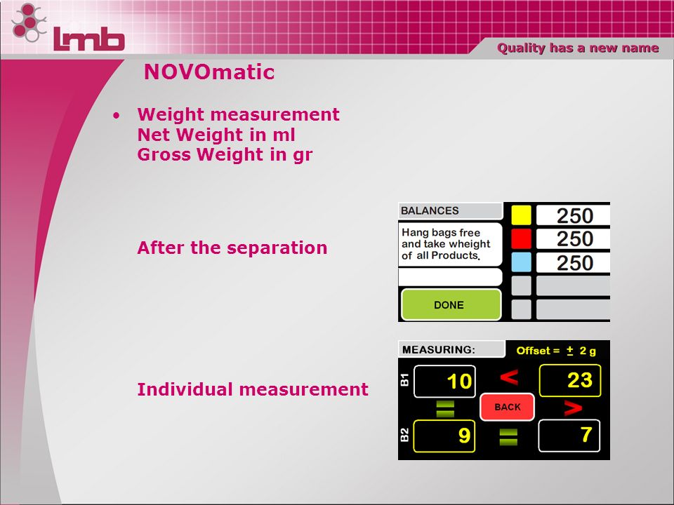 NOVOmatic Weight measurement Net Weight in ml Gross Weight in gr