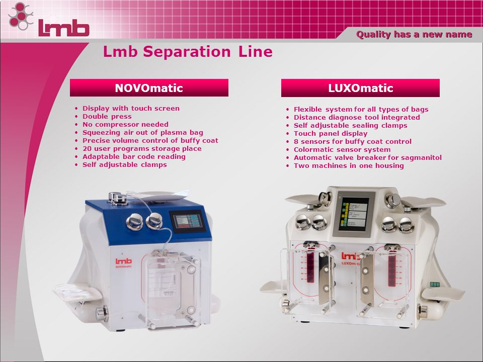 Lmb Separation Line NOVOmatic LUXOmatic Display with touch screen