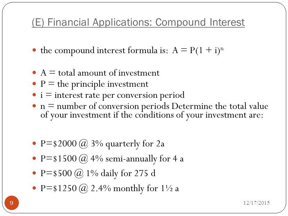 compound interest rate formulas