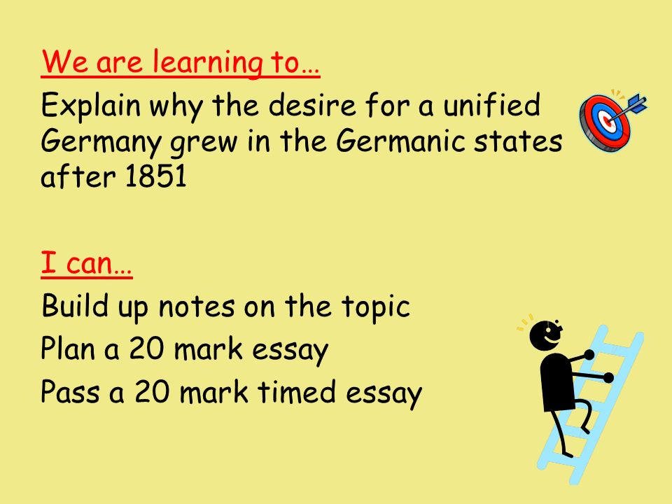 higher history essay german unification Free essay on bismarck and the unification of germany available totally free at echeatcom, the largest free essay community.