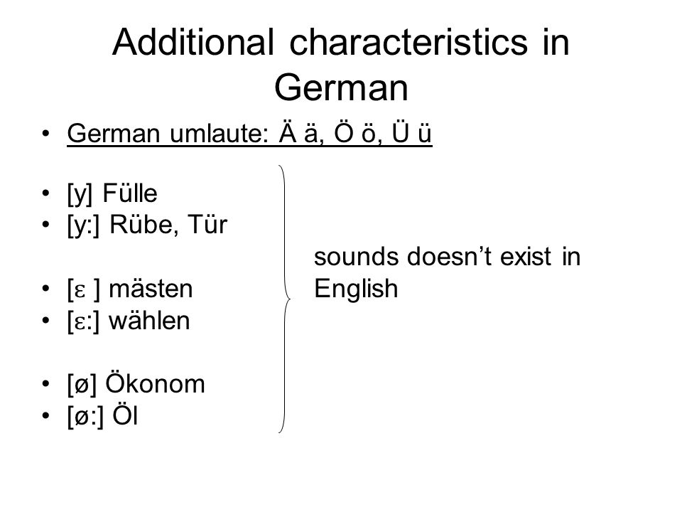 Additional characteristics in German
