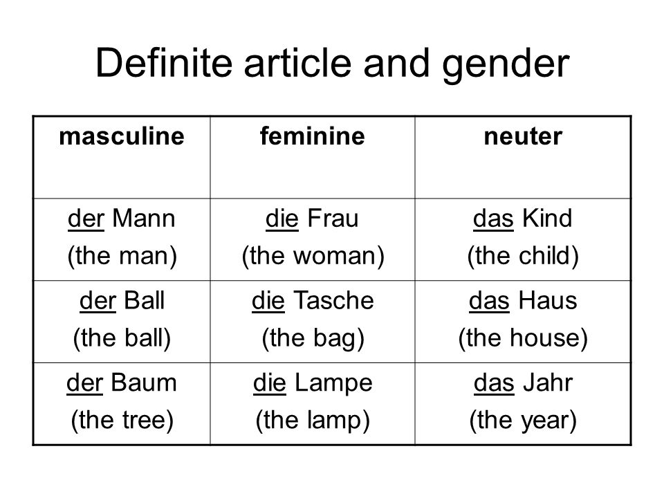 Definite article and gender
