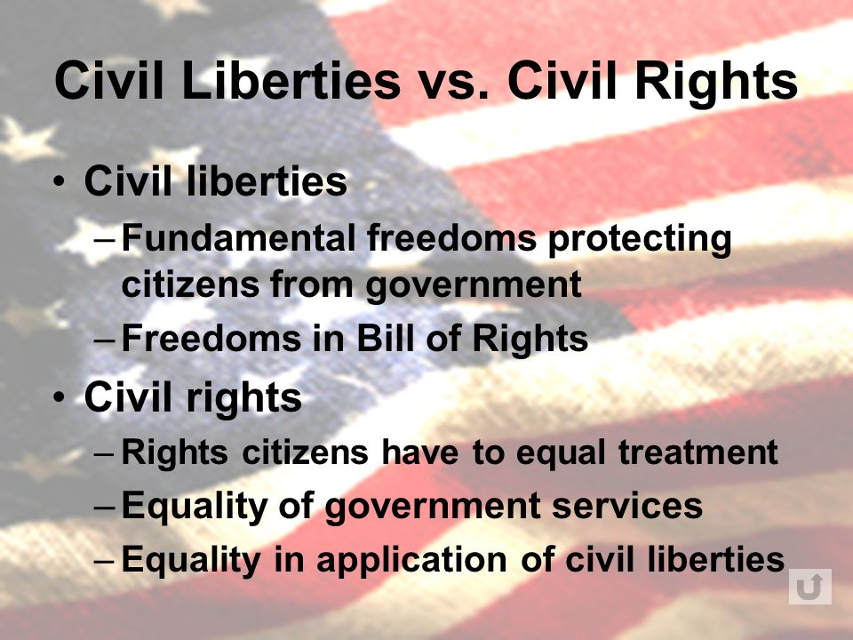 civil liberties and civil rights In times of grave threat, the us has not always lived up to its highest ideals but the american people do act to restore civil rights and liberties.