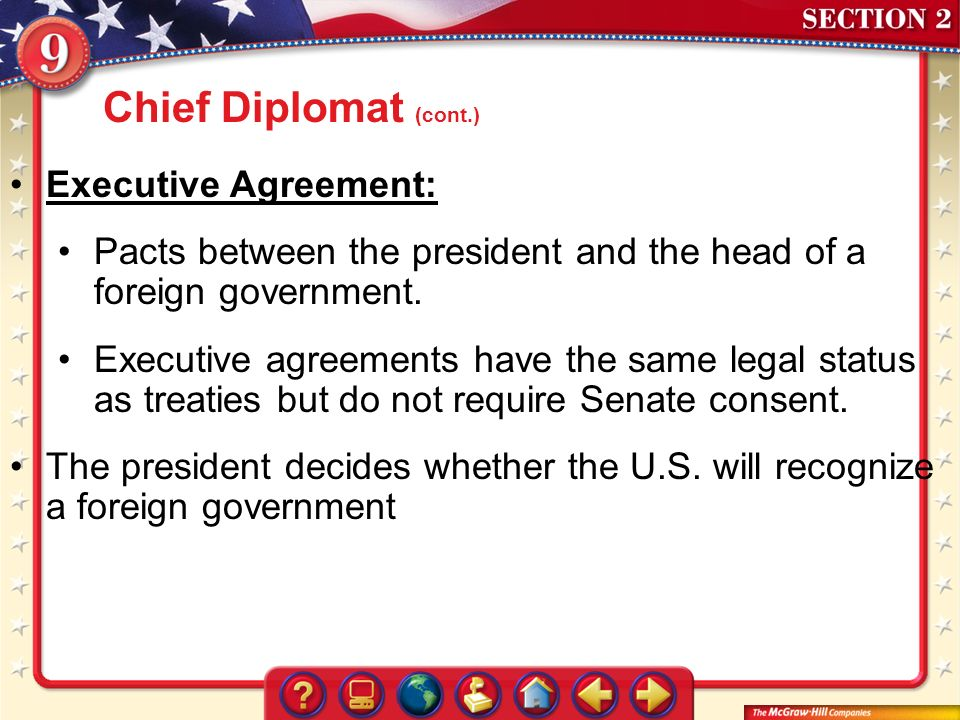 What basic powers of the presidency directly affect the other two executive agreement platinumwayz