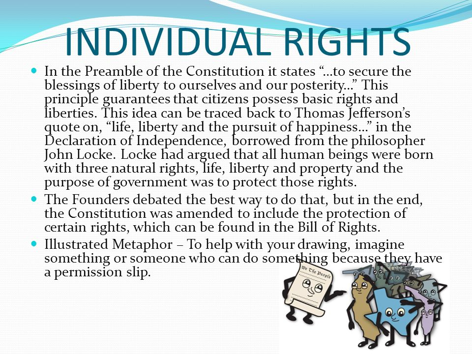 individual rights Individual rights and government wrongs examines two fundamentally different views regarding what type of nation america should be using examples from history and the contemporary world.