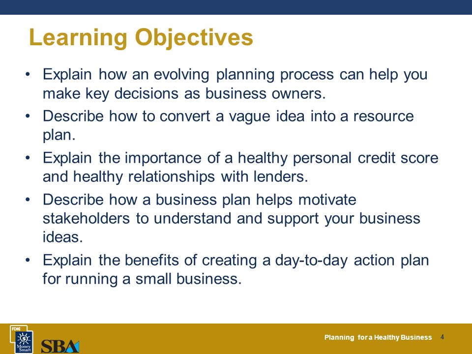 Example Business Goals and Objectives