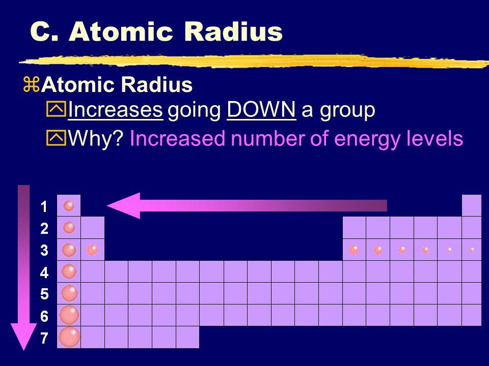 The periodic table i periodic trends ppt download c atomic radius atomic radius increases going down a group urtaz Choice Image