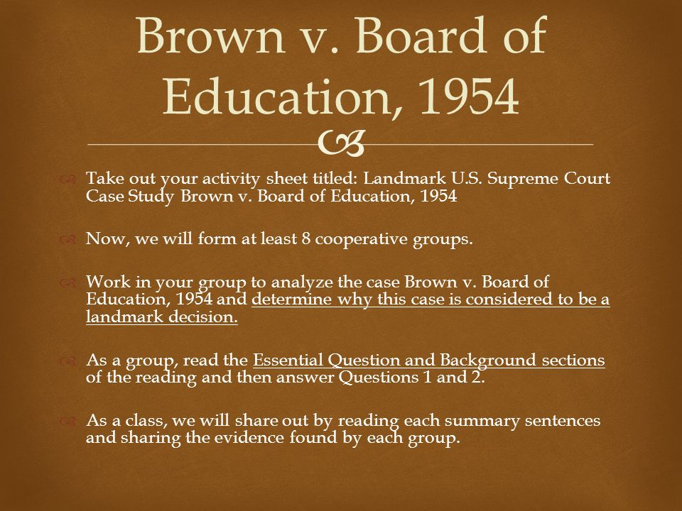 the background and impact of the 1950s case the brown vs board of education For a quarter-century after world war ii, brown v board of education for topeka   but brown had little direct impact on the jurisprudence of other countries  the  current (1950s) social context surrounding racially segregated public education.
