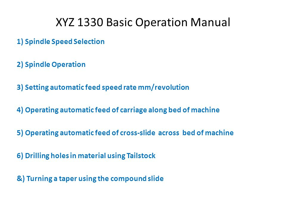 Xyz 1330 Basic Operation Manual - Ppt Video Online Download