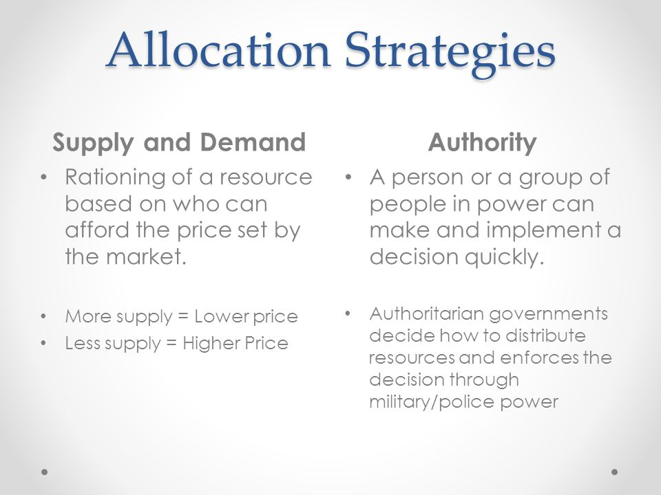 strategy resource allocation and everyday decisions Definition: what is resource allocation resource allocation is the distribution of resources - usually financial - among competing groups of people or level 3 : the next level of decision making involves distributing the financial resources among individuals.