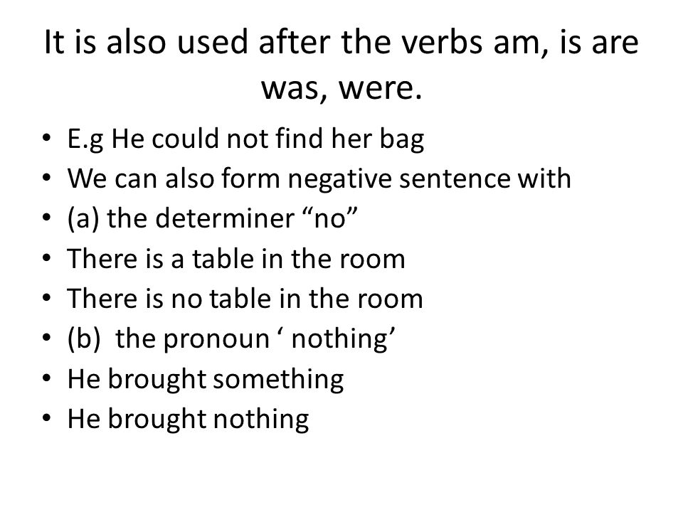 It is also used after the verbs am, is are was, were.