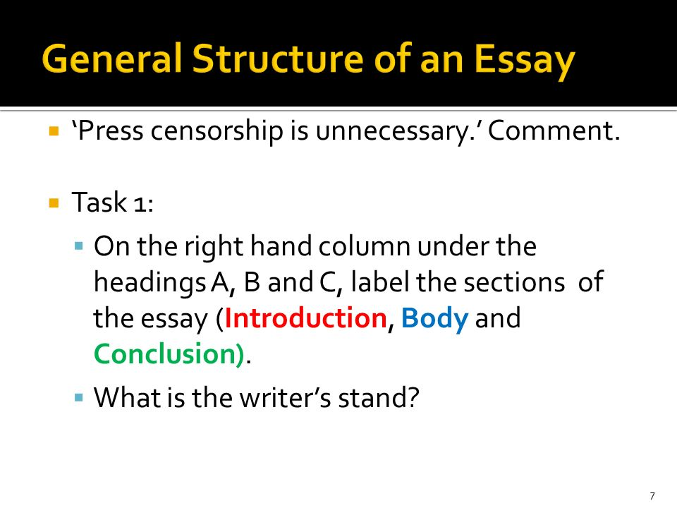 Essay general structure