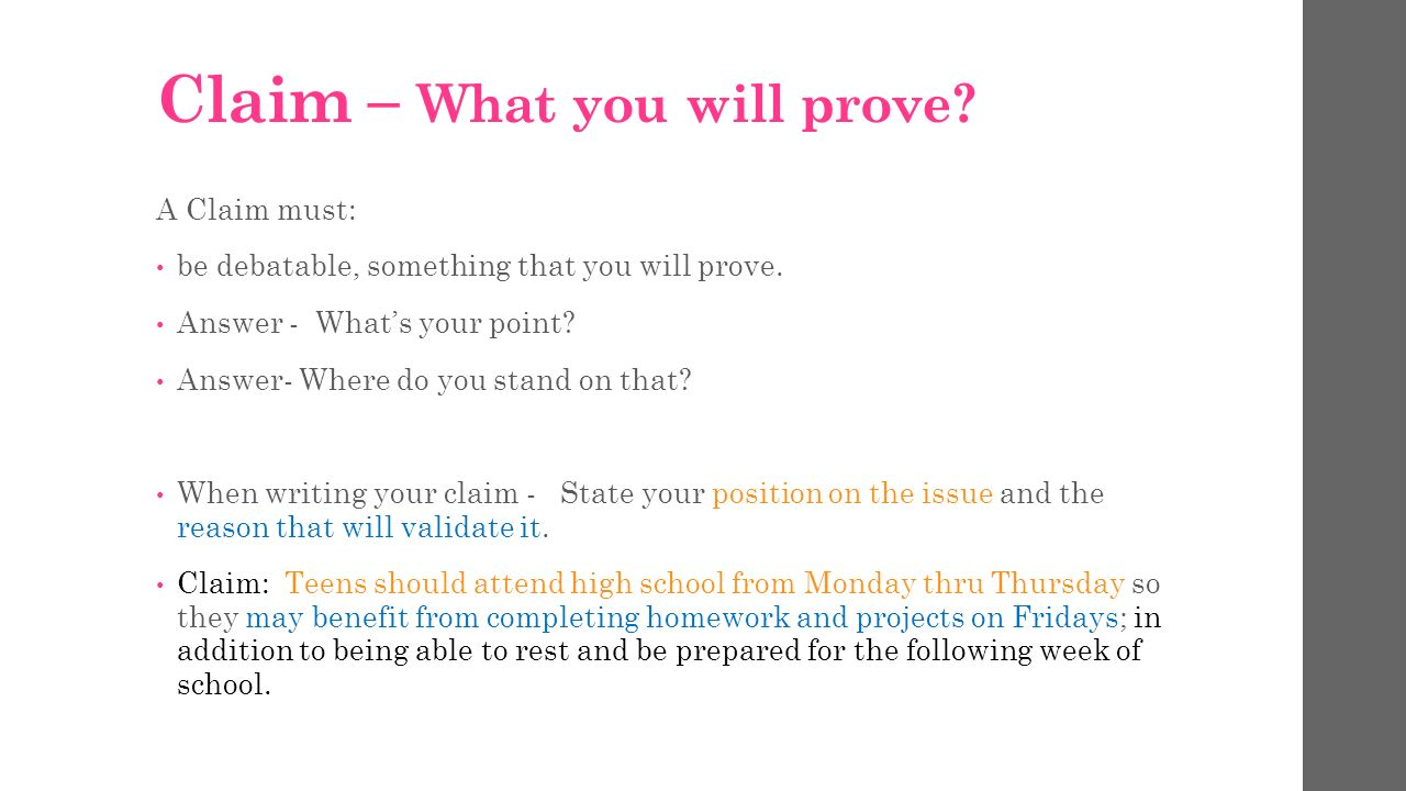 what is a claim in an argumentative essay Argumentative,essay,counterargument,paragraph, $ the$counterargument$paragraph$is$the$author's$opportunity$to$address$the$other$side$of$the$ issue$and$further$strengthen$their$own$claim$and$arguments$this$paragraph$should$have$four.