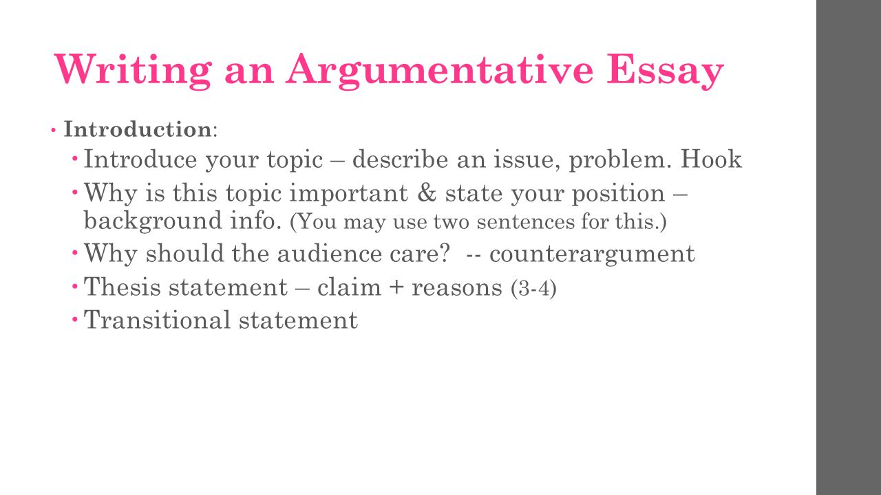 introduction for argumentative essay Introduction and conclusion these represent the most serious omission students regularly make every essay or paper designed to be persuasive needs a paragraph at the very outset introducing both the subject at hand and the thesis which is being advanced.