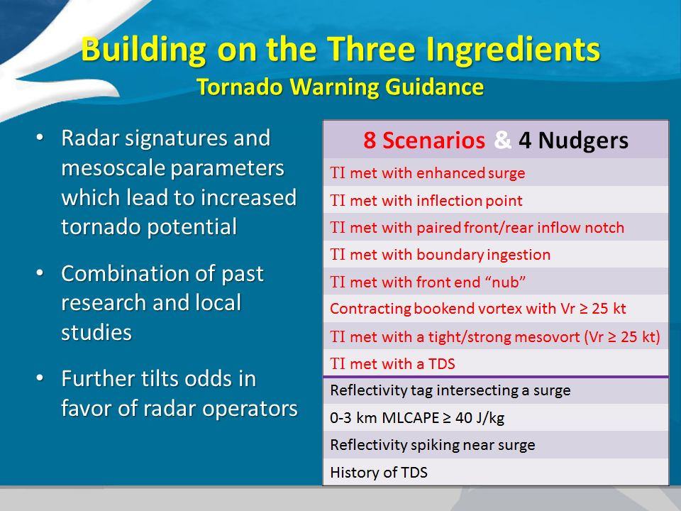 Building on the Three Ingredients Tornado Warning Guidance