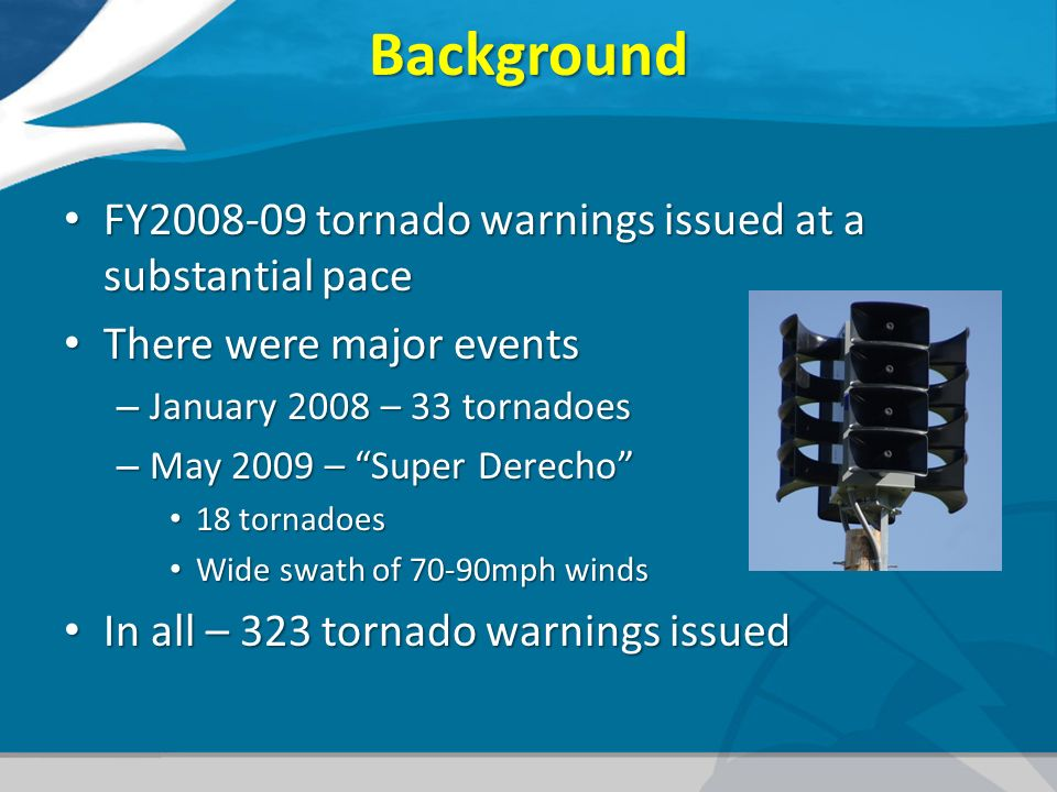 Background FY tornado warnings issued at a substantial pace