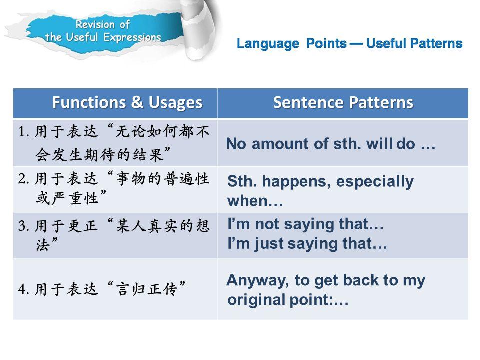 Functions & Usages Sentence Patterns 1. 用于表达 无论如何都不 会发生期待的结果