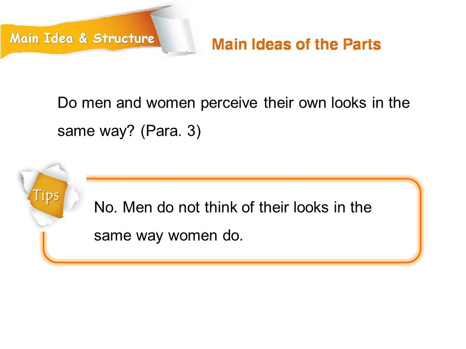 Do men and women perceive their own looks in the same way (Para. 3)