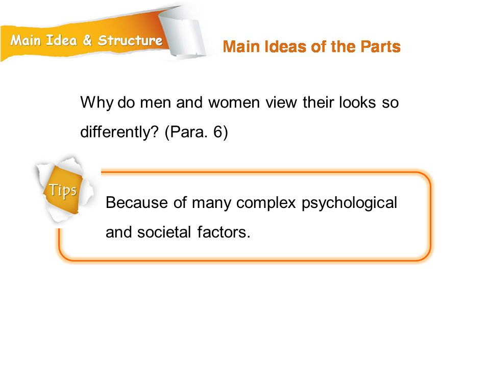 Why do men and women view their looks so differently (Para. 6)
