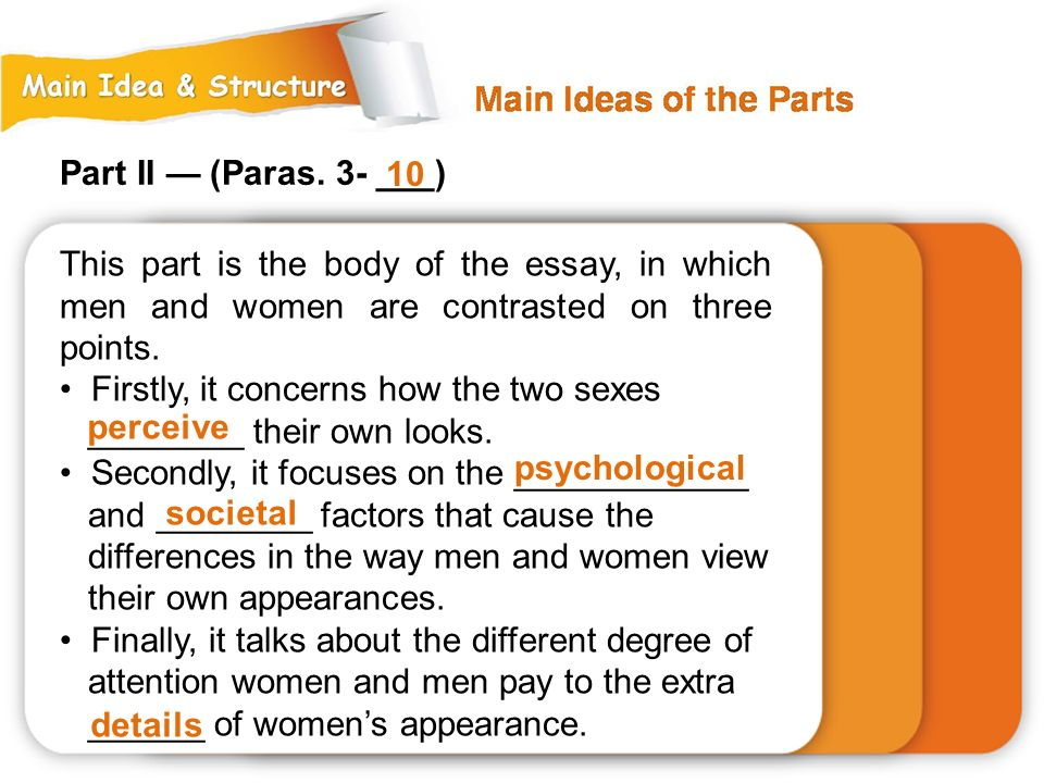 Part II — (Paras. 3- ___) 10. This part is the body of the essay, in which men and women are contrasted on three points.