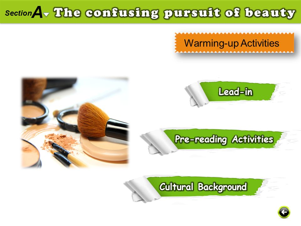 A The confusing pursuit of beauty Warming-up Activities Lead-in