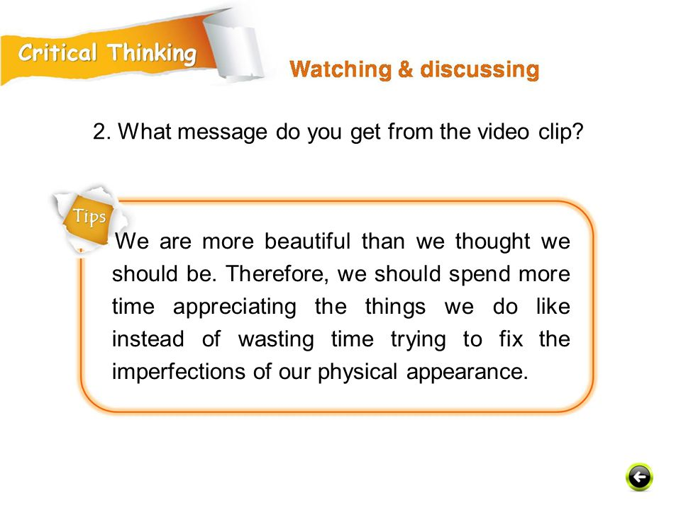 2. What message do you get from the video clip
