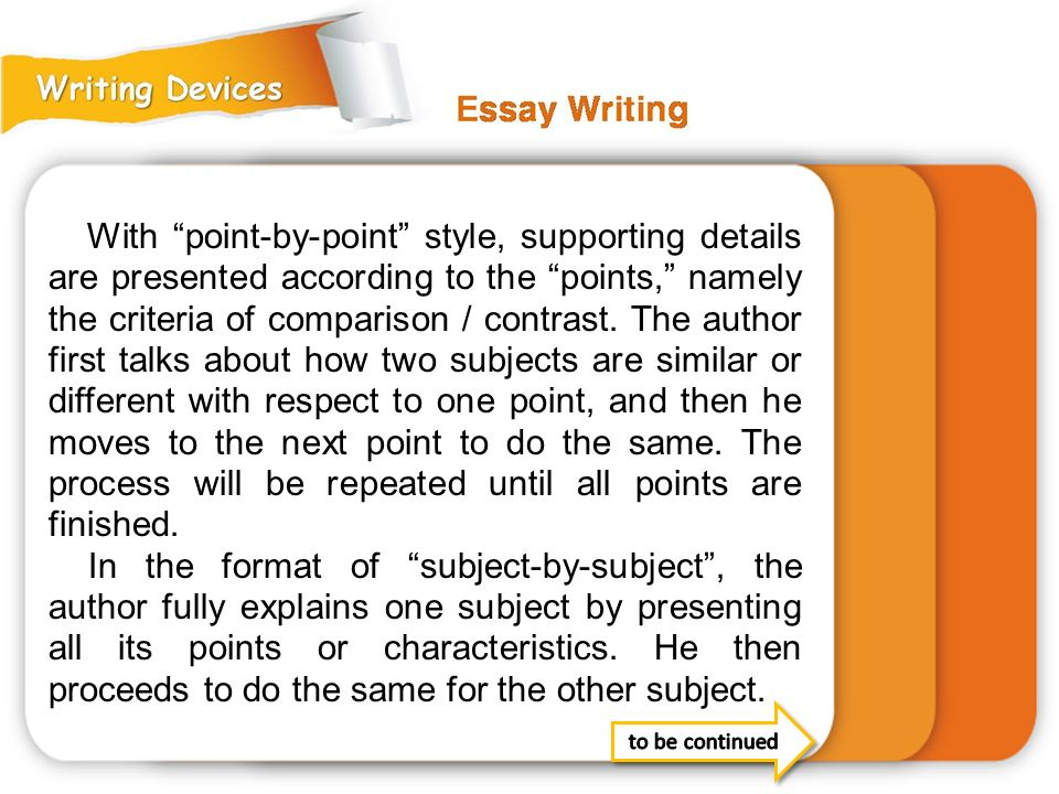 With point-by-point style, supporting details are presented according to the points, namely the criteria of comparison / contrast. The author first talks about how two subjects are similar or different with respect to one point, and then he moves to the next point to do the same. The process will be repeated until all points are finished.