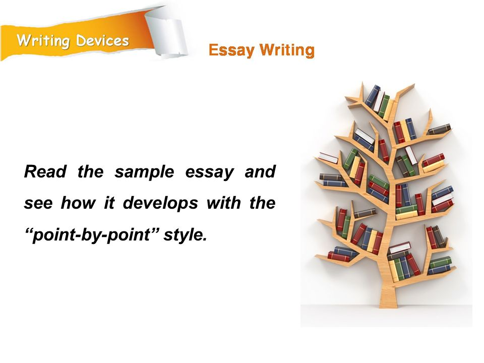 Read the sample essay and see how it develops with the point-by-point style.