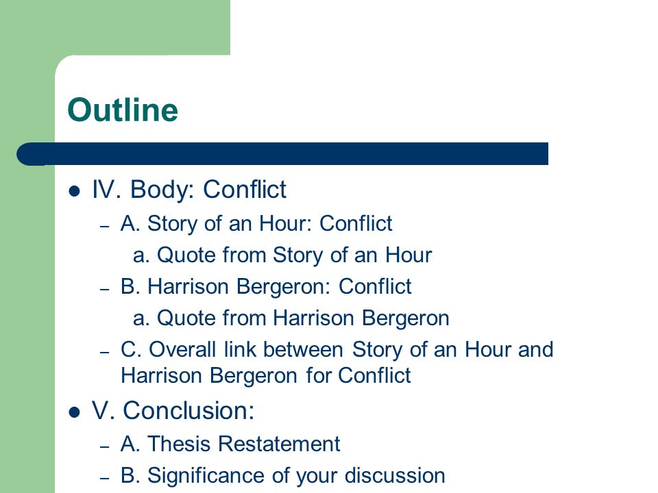 harrison bergeron conflict resolution Types of conflict in harrison bergeron high resolution harrison struggles with a man vs society conflict in that he opposes the government's use of.