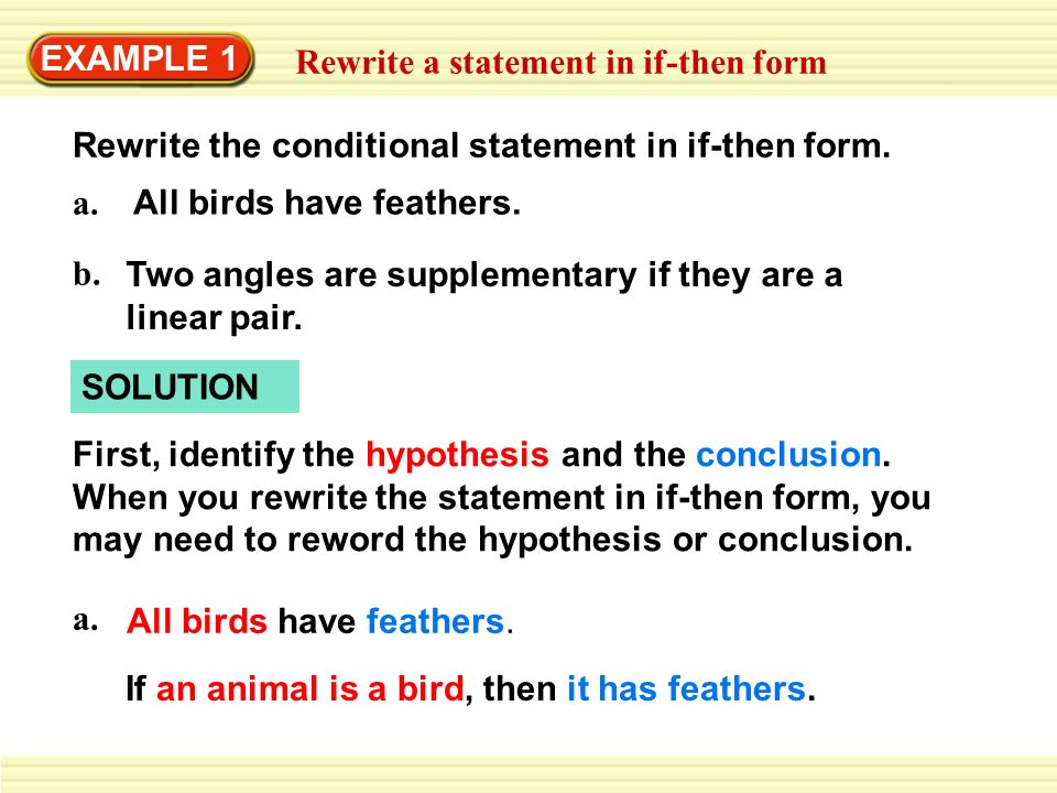 Example  Rewrite A Statement In IfThen Form  Ppt Download
