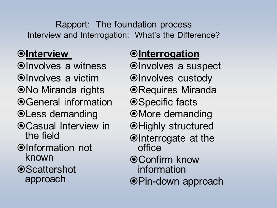 interview vs interrogation Recording custodial interviews and interrogations   or  confessions will likely be compared against the recorded interview.