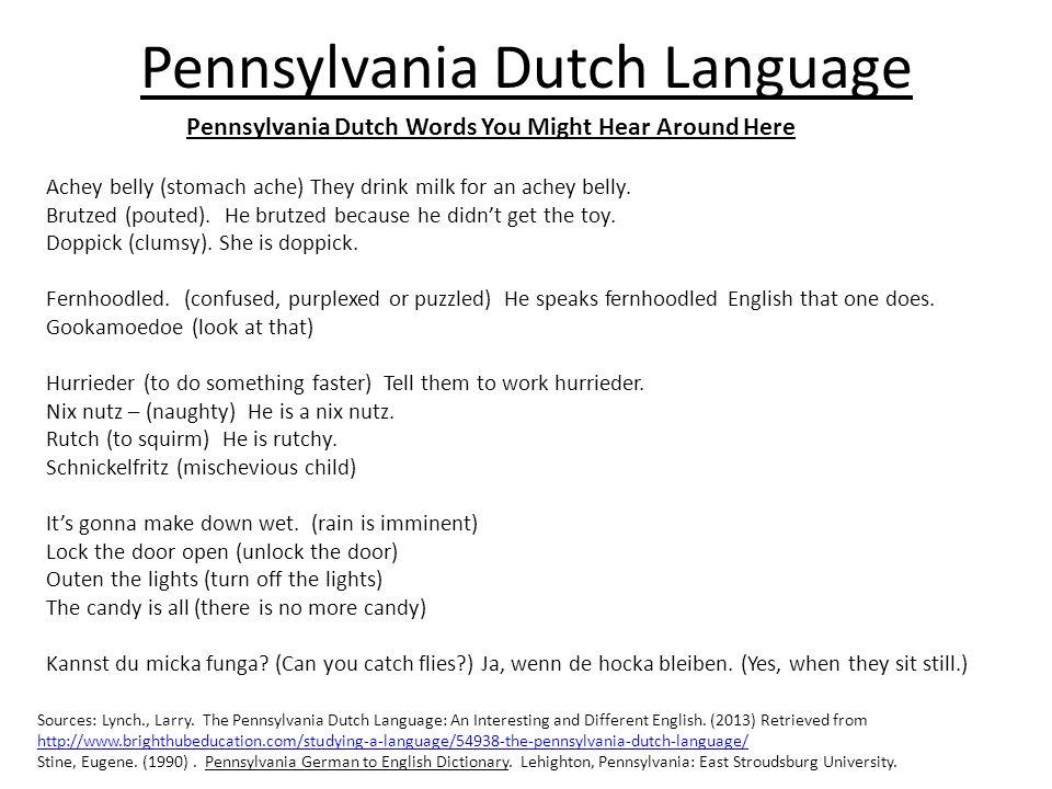 Pennsylvania Dutch Language