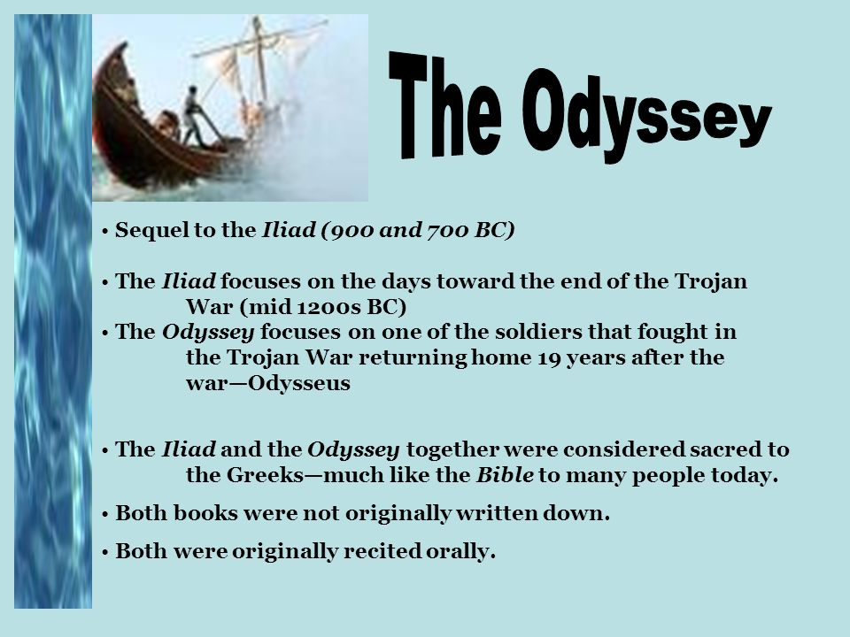 an overview of the odyssey essay by homer Essay prompt: homer explores many themes in his epic the odyssey choose one and trace its development throughout the epic your essay.