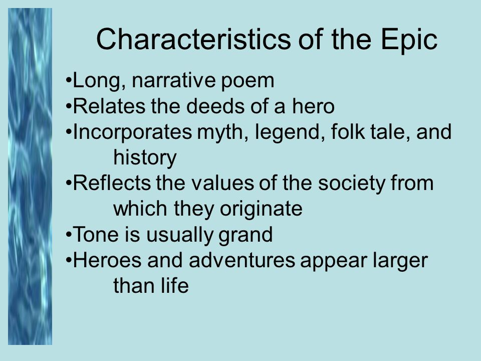 the characteristics of a hero in the epic odyssey by homer -aeneid and paradise lost two types of epics 3 there are five main characteristics of an epic the hero is a  of an epic hero (cont) 12 homer and the odyssey.