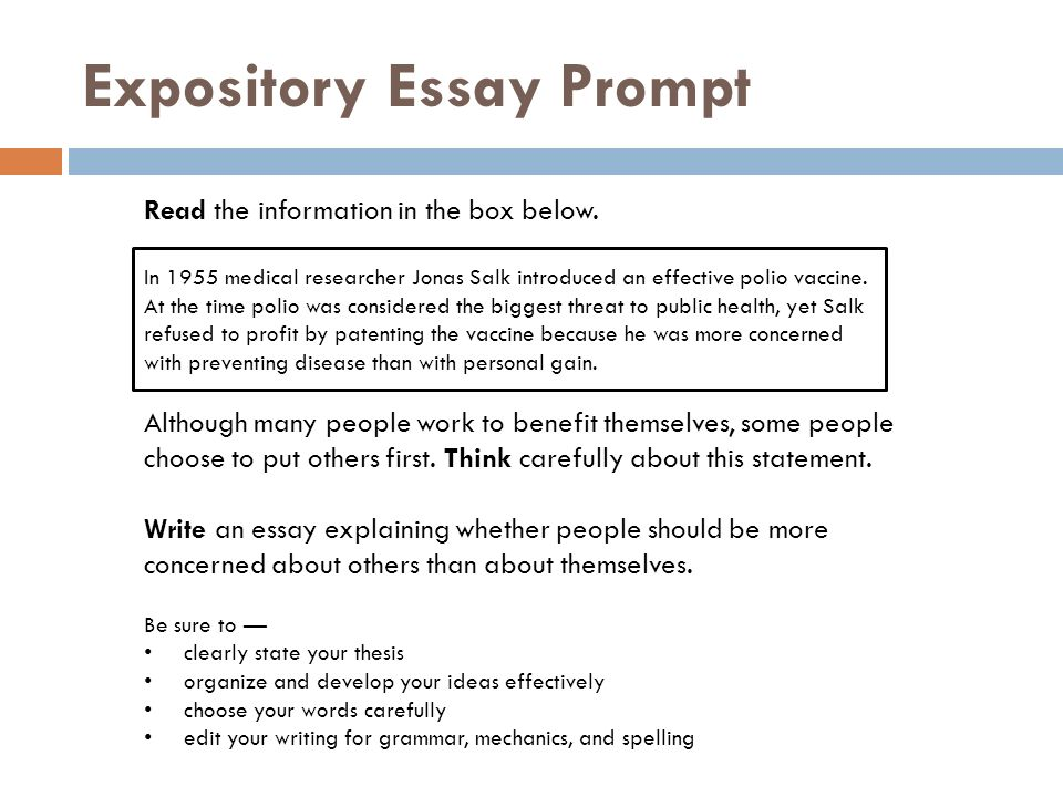 high school expository essay prompts Explain yourself: an expository writing unit for high school adele barnett explain yourself: an expository writing unit for high school grade level: 9/10 subject/topic area(s): english language arts essay that your write aboutyourself the prompt for this essay is in the box.