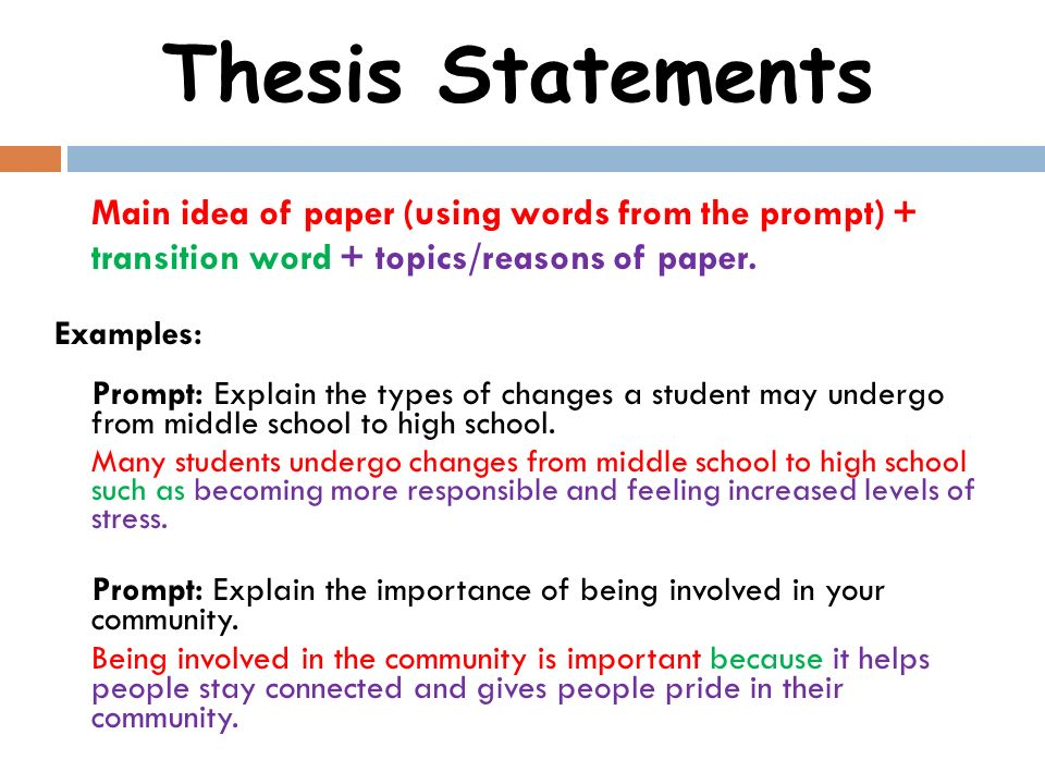 Which words describe a good thesis statement?