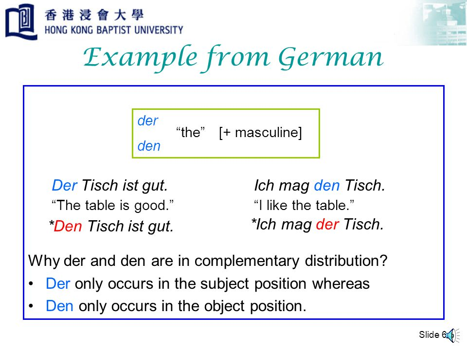 Example from German Why der and den are in complementary distribution