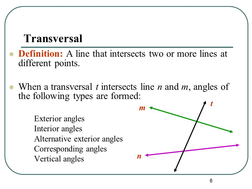 Awesome 6 Transversal Definition: ...
