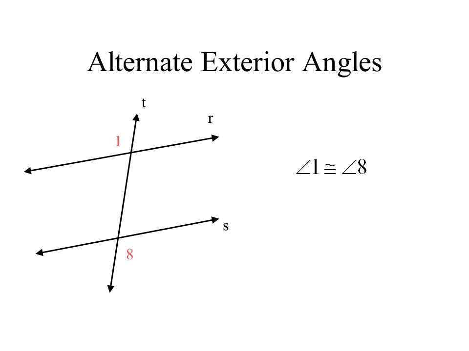 Transversal and parallel lines ppt video online download Alternate exterior angles conjecture