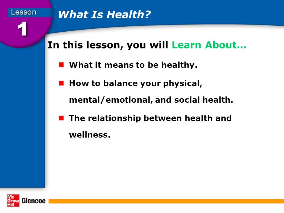 What Is Health In this lesson, you will Learn About…