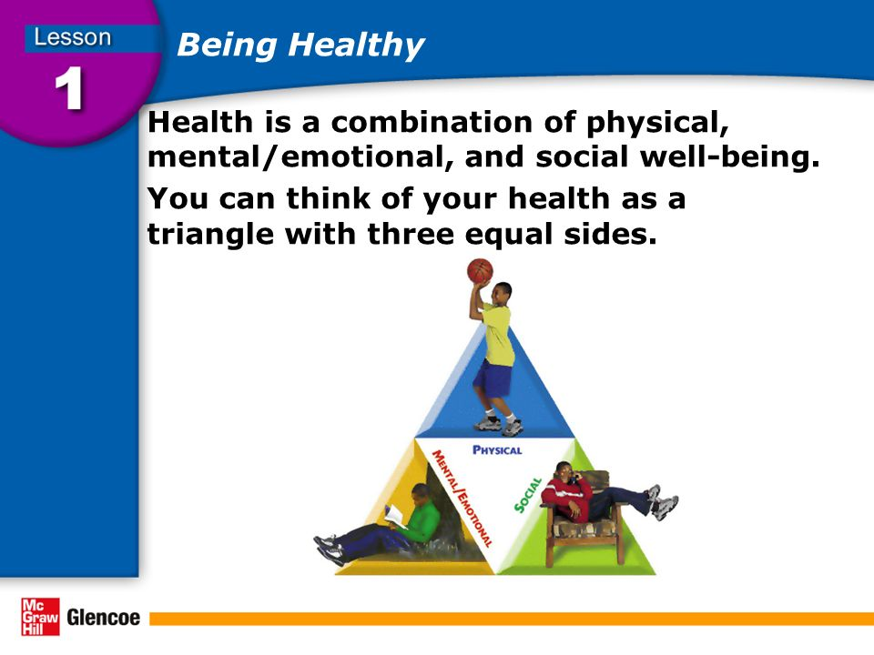 Being Healthy Health is a combination of physical, mental/emotional, and social well-being.