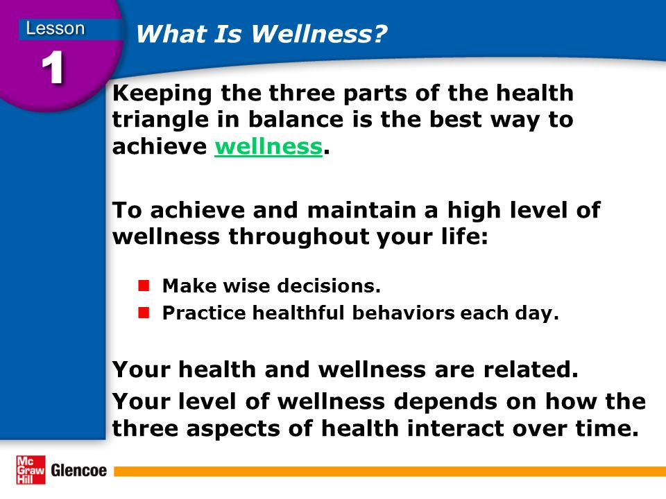 What Is Wellness Keeping the three parts of the health triangle in balance is the best way to achieve wellness.