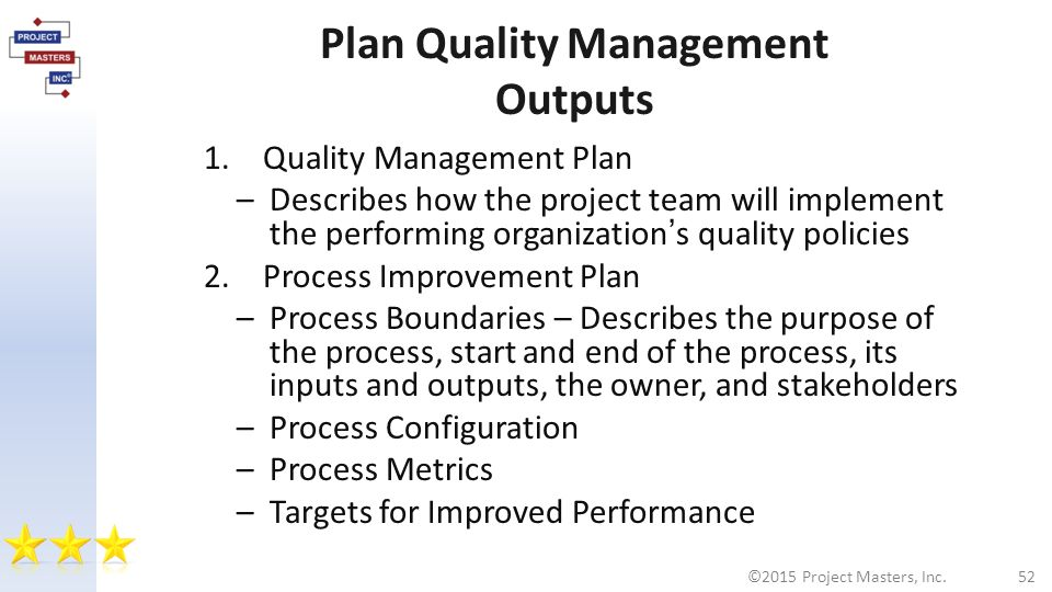 Plan Quality Management Outputs