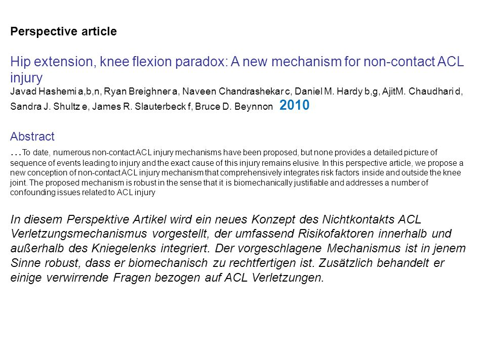 Perspective article Hip extension, knee flexion paradox: A new mechanism for non-contact ACL injury.