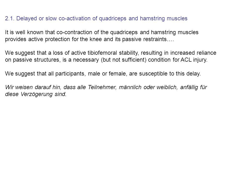 2.1. Delayed or slow co-activation of quadriceps and hamstring muscles