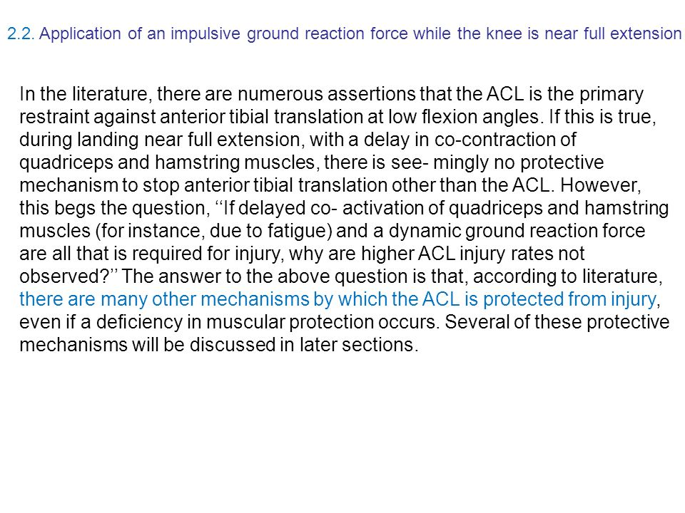 2.2. Application of an impulsive ground reaction force while the knee is near full extension